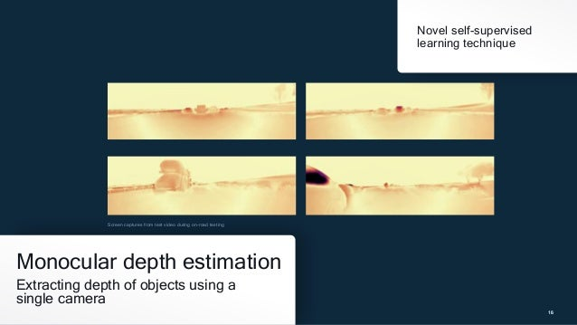 16 16 Monocular depth estimation Extracting depth of objects using a single camera 16 Novel self-supervised learning techn...
