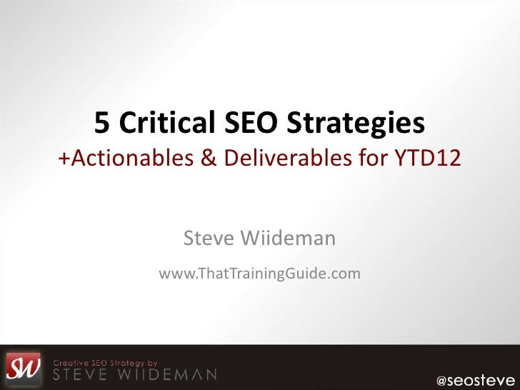 5 Critical SEO Strategies+Actionables & Deliverables for YTD12            Steve Wiideman         www.ThatTrainingGuide.com