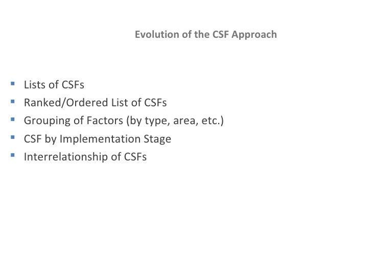 Evolution of the CSF Approach <ul><li>Lists of CSFs </li></ul><ul><li>Ranked/Ordered List of CSFs </li></ul><ul><li>Groupi...