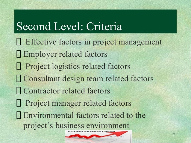 project success factors Hello as you know, the project charter document (which i described here) is a critical document for project success if you're familiar with the contents of this document, one of the.