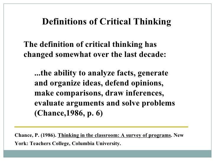 Critical analytical thinking definition