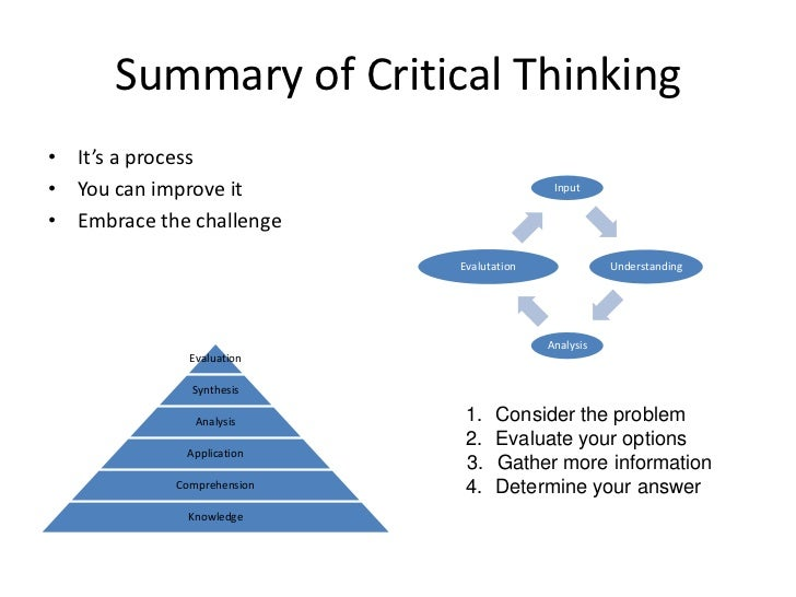 understanding critical thinking process Critical thinking and the nursing practice the understanding or learning of things discuss the relationships among the nursing process, critical thinking.