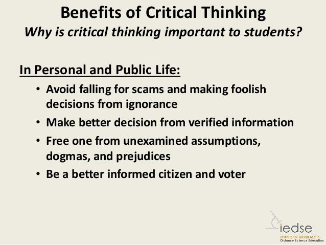 critical thinking is important in life