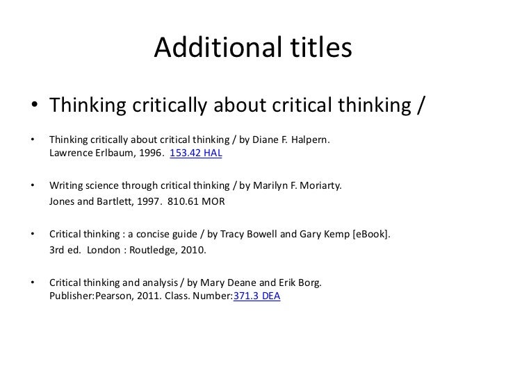thinking critically bowell kemp pdf