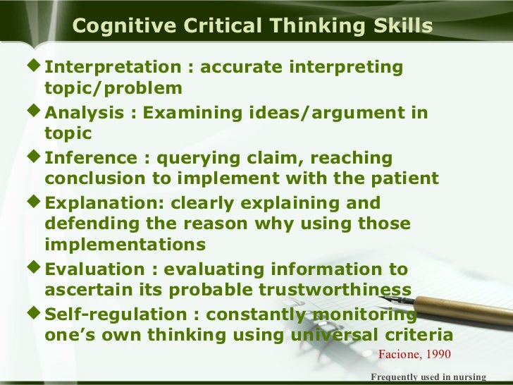 cognitive skills in critical thinking army