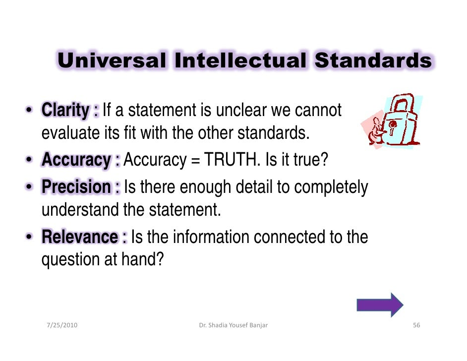 critical thinking standards clarity