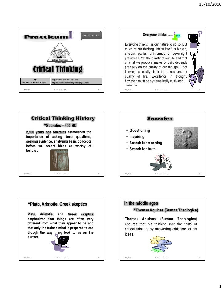 Critical thinking, by dr. shadia yousef banjar 2011.pptx
