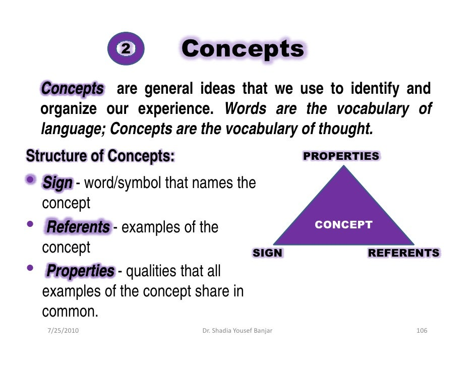 2         Concepts     Concepts are general ideas that we use to identify and     organize our experience. Words are the v...