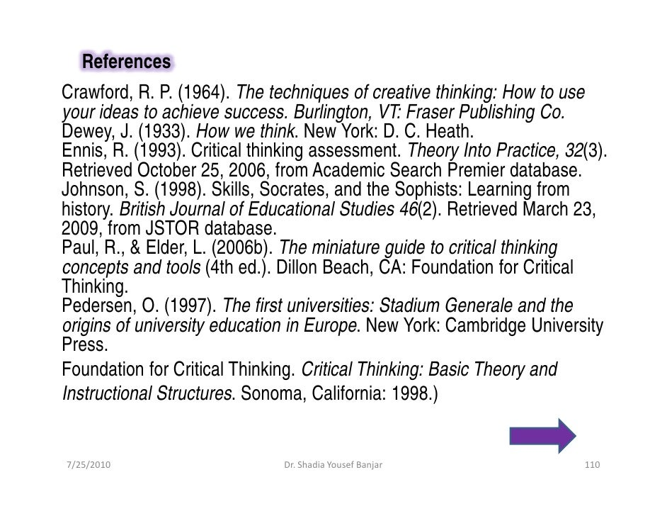 References Crawford, R. P. (1964). The techniques of creative thinking: How to use your ideas to achieve success. Burlingt...