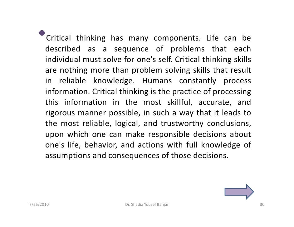 describe the critical thinking process