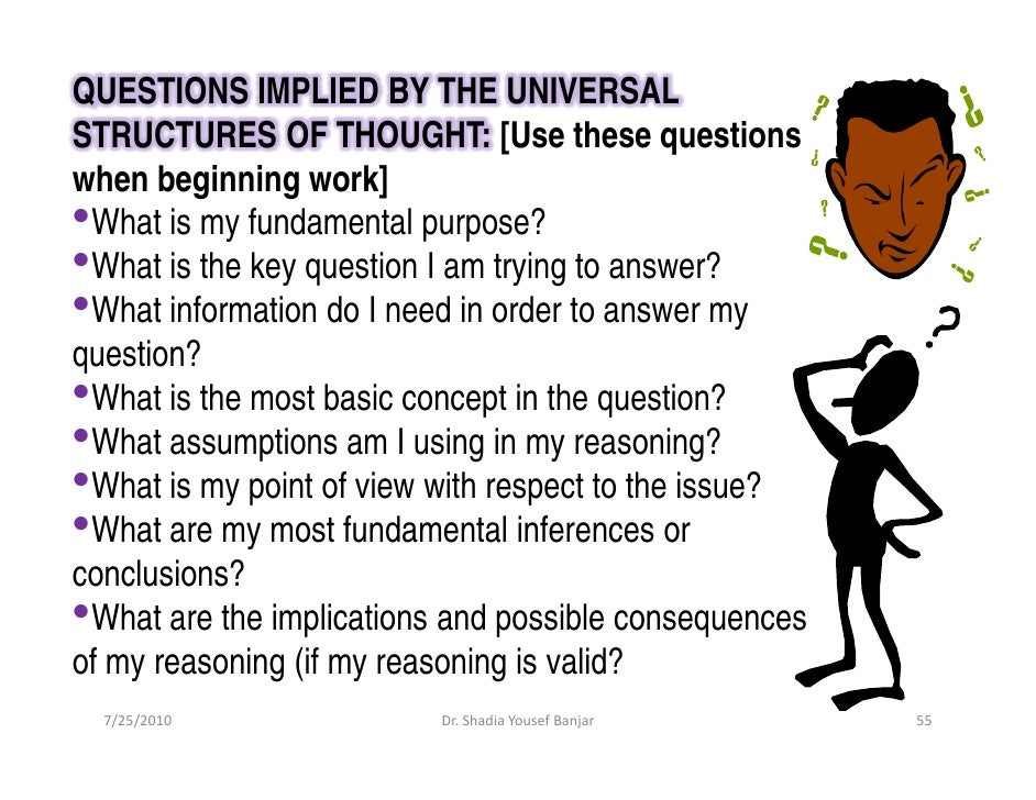 QUESTIONS IMPLIED BY THE UNIVERSAL STRUCTURES OF THOUGHT: [Use these questions when beginning work] •What is my fundamenta...