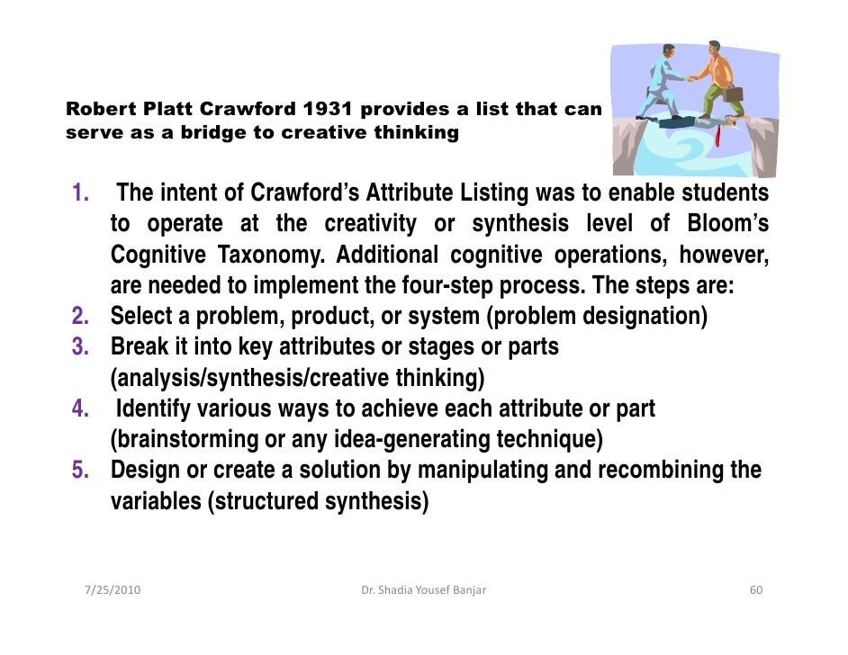 Robert Platt Crawford 1931 provides a list that can serve as a bridge to creative thinking   1.    The intent of Crawford'...
