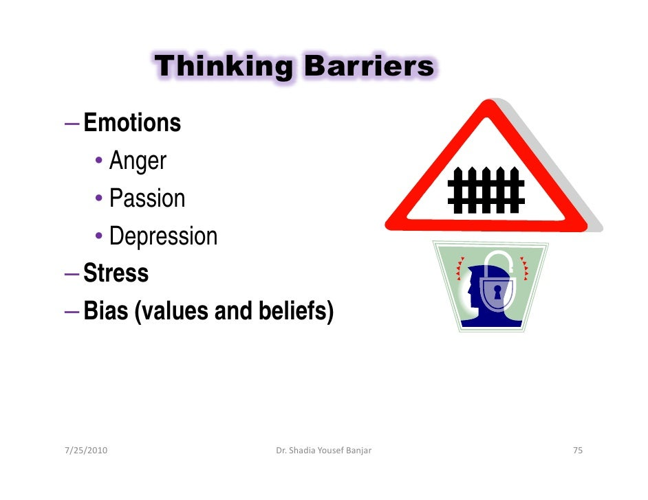 Thinking Barriers – Emotions    • Anger    • Passion    • Depression – Stress – Bias (values and beliefs)     7/25/2010   ...