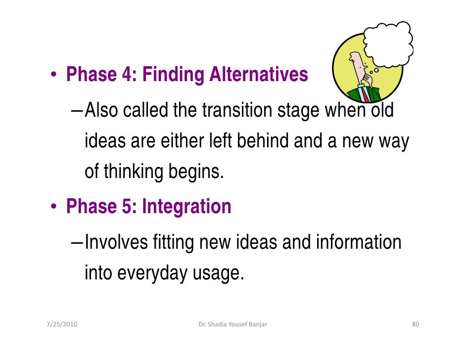 • Phase 4: Finding Alternatives        –Also called the transition stage when old         ideas are either left behind and...