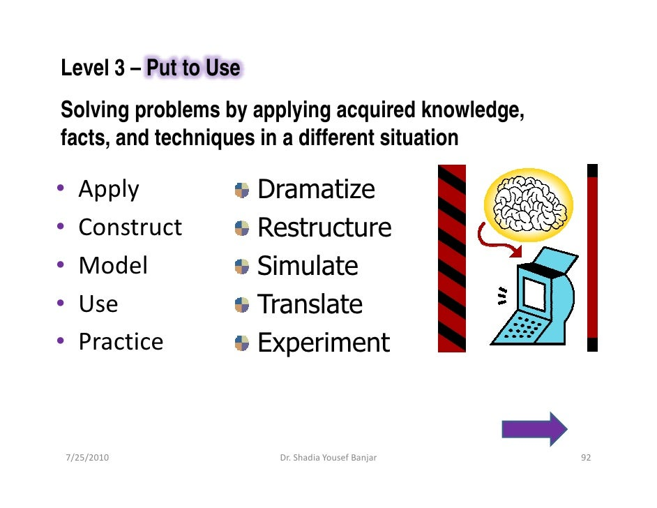 Level 3 – Put to Use Solving problems by applying acquired knowledge, facts, and techniques in a different situation  •   ...