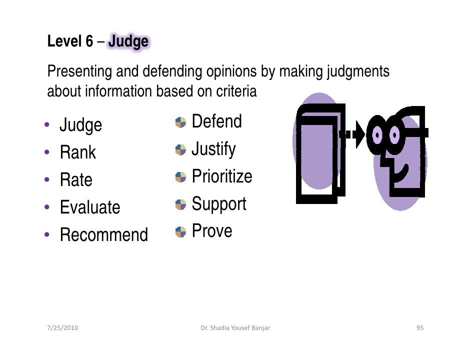 Level 6 – Judge Presenting and defending opinions by making judgments about information based on criteria  •   Judge      ...