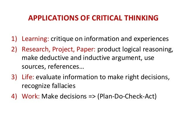 Critical thinking application paper final