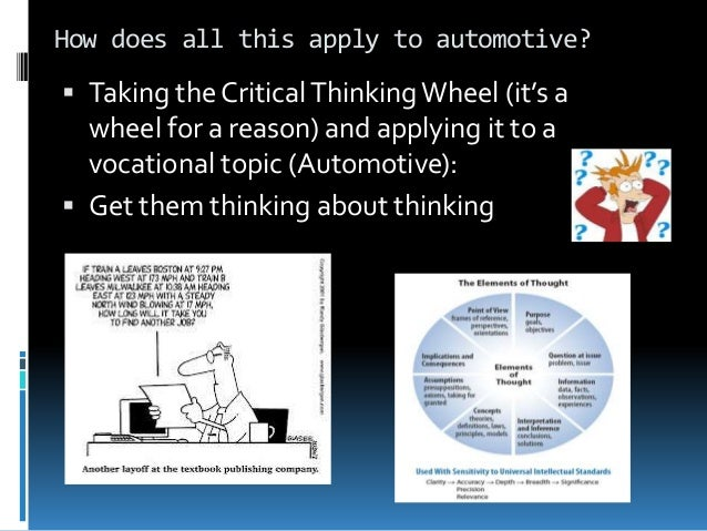 elements of a critical thinking essay Teaching of critical thinking at the highschool  regarding such literary elements  as character, theme, and  summary, narrative, or essay) to help students.