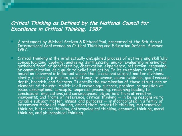 8th annual international conference on critical thinking and education reform summer 1987