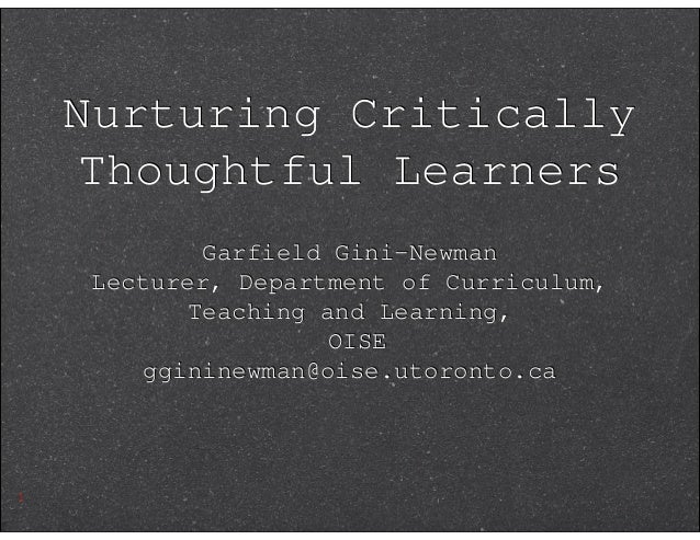 garfield gini newman critical thinking powerpoint