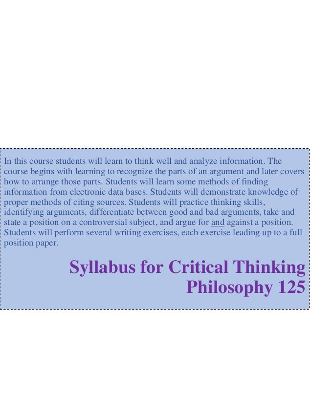 logic and critical thinking syllabus