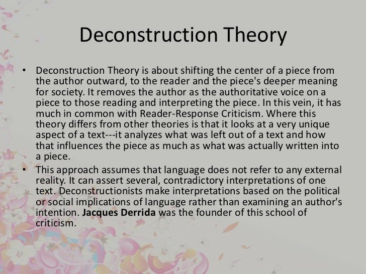 using deconstructive criticism to analyze an There's a collection of essays called deconstruction and criticism that features bloom (not really a deconstructionist), paul de man, jacques derrida, geoffrey hartman, and j hillis miller all the articles, save perhaps bloom, perform deconstructive readings of a text.