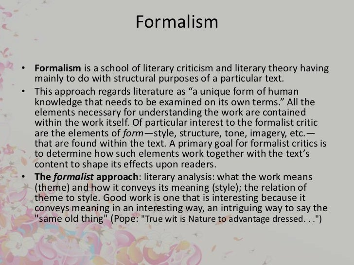 formalism art essay Kant's formalism theory the theories of immanuel kant, a german philosopher, have had an impact on the formulation and shaping of ethics today immanuel.