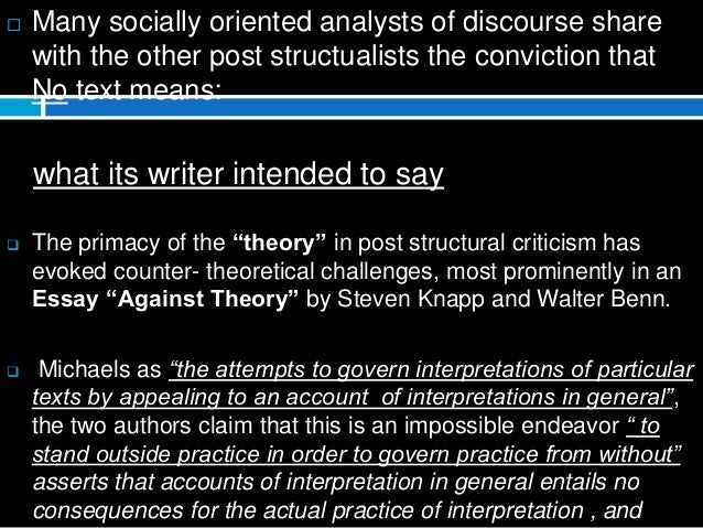 post structuralism thesis Moving from structuralism to post-structuralism - as the north american intellectual society developed over the 1950s, by growing.