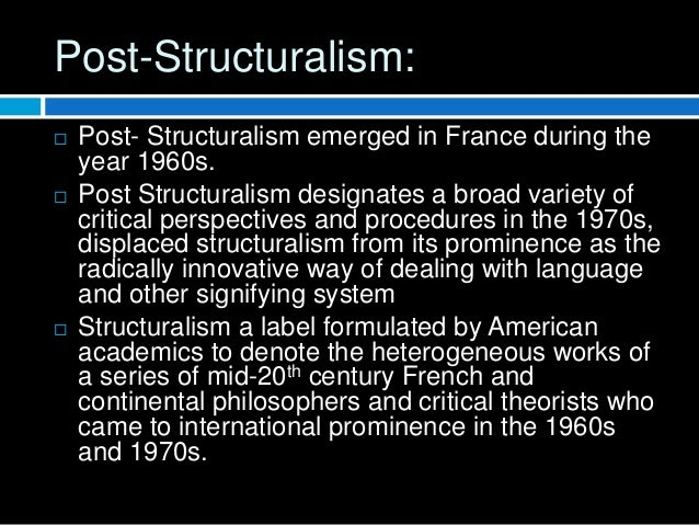 characteristics of post structuralism