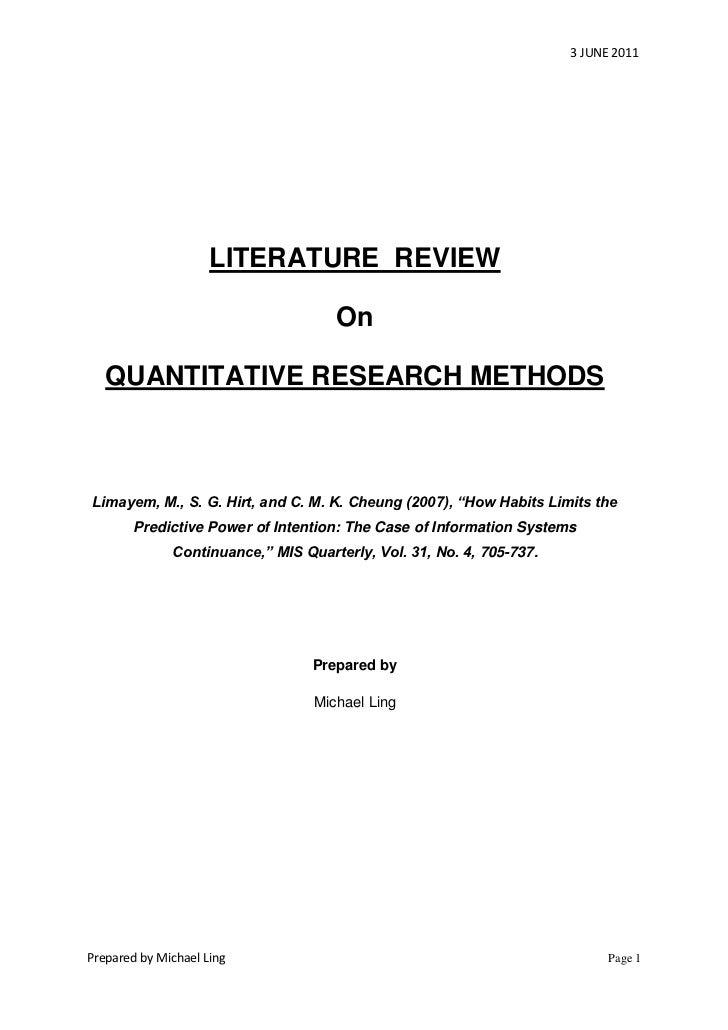 3 JUNE 2011                     LITERATURE REVIEW                                     On   QUANTITATIVE RESEARCH METHODSLi...