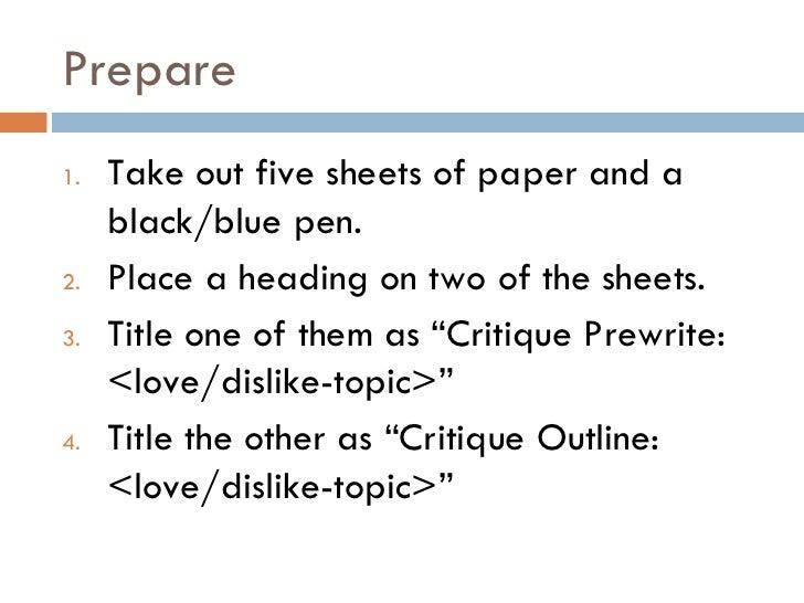 critique prewrite outline