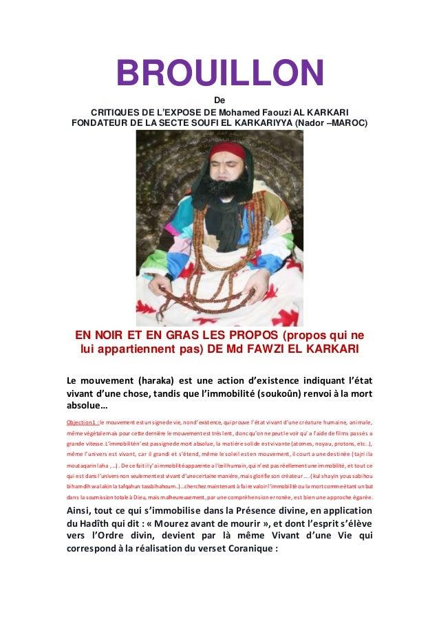 BROUILLON De CRITIQUES DE L'EXPOSE DE Mohamed Faouzi AL KARKARI FONDATEUR DE LA SECTE SOUFI EL KARKARIYYA (Nador –MAROC) E...