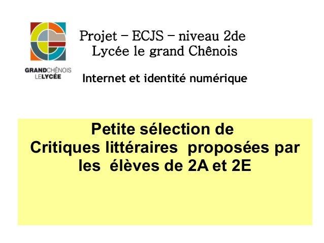Projet – ECJS – niveau 2de Lycée le grand Chênois Internet et identité numérique Petite sélection de Critiques littéraires...