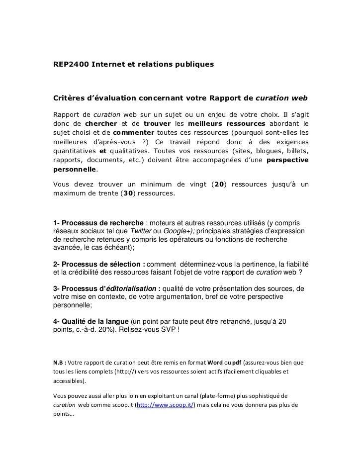 REP2400 Internet et relations publiquesCritères d'évaluation concernant votre Rapport de curation webRapport de curation w...
