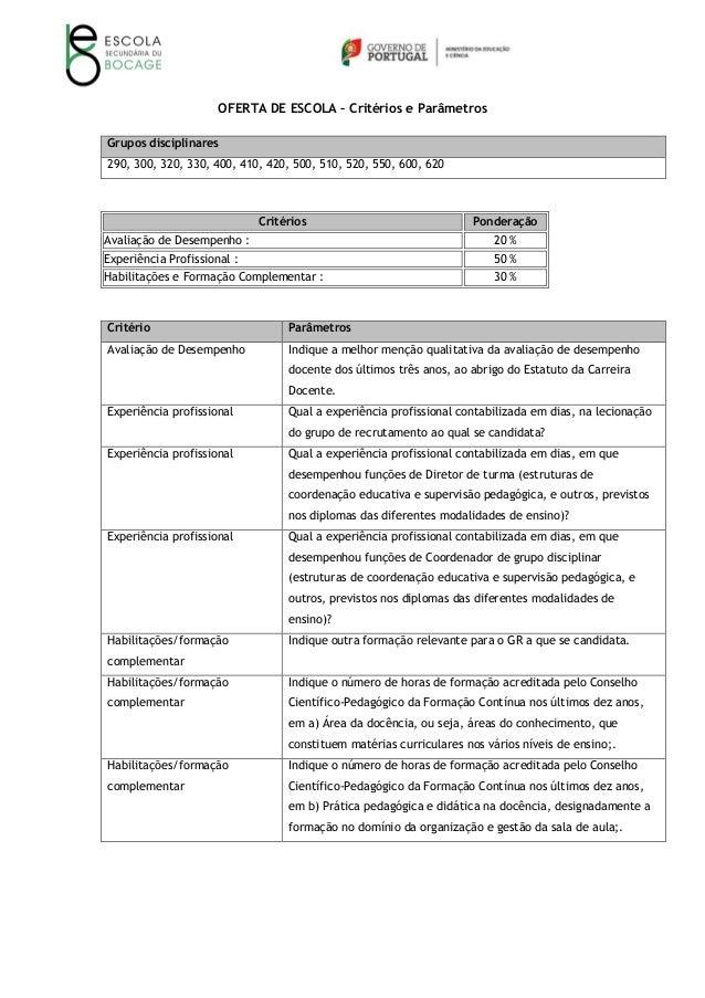 OFERTA DE ESCOLA – Critérios e Parâmetros Grupos disciplinares 290, 300, 320, 330, 400, 410, 420, 500, 510, 520, 550, 600,...