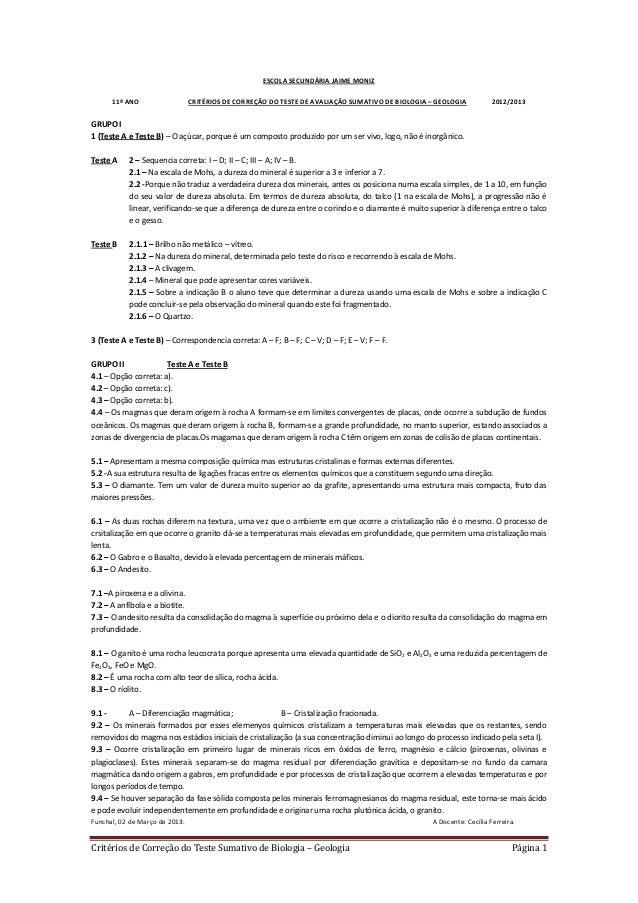 ESCOLA SECUNDÁRIA JAIME MONIZ      11º ANO                   CRITÉRIOS DE CORREÇÃO DO TESTE DE AVALIAÇÃO SUMATIVO DE BIOLO...