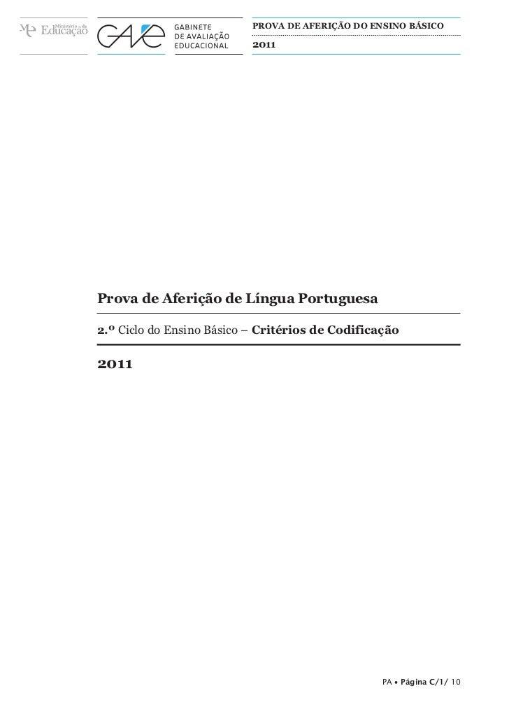 ProvA de Aferição do ensino básiCo                           2011Prova de Aferição de Língua Portuguesa2.º Ciclo do Ensino...