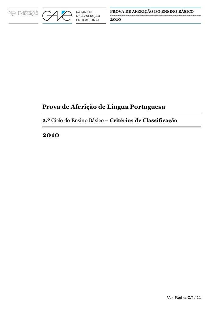 PROVA DE AFERIÇÃO DO ENSINO BÁSICO                                     2010A PREENCHER PELO ALUNONomeA PREENCHER PELO AGRU...