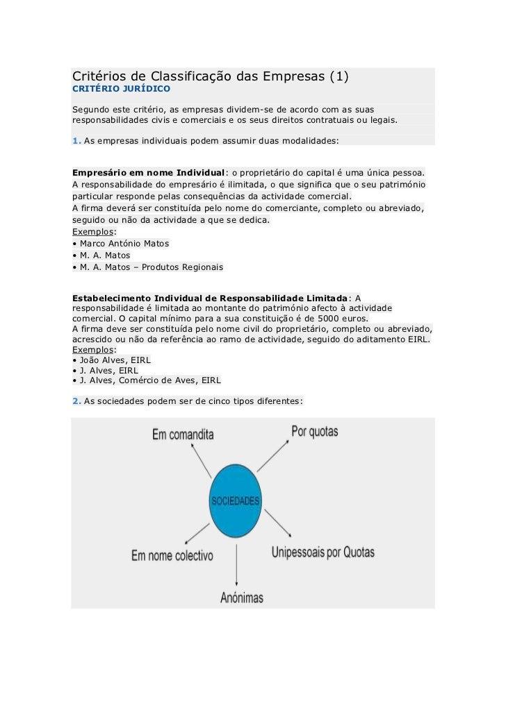 Critérios de Classificação das Empresas (1)CRITÉRIO JURÍDICOSegundo este critério, as empresas dividem-se de acordo com as...