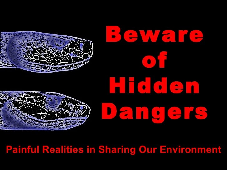 Beware of Hidden Dangers Painful Realities in Sharing Our Environment Created by Jim Neaves, J/R/Neaves Consulting