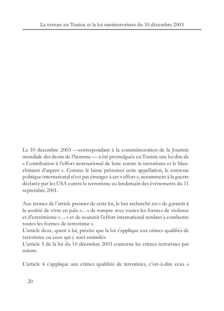 Rapport Sur La Torture En Tunisie