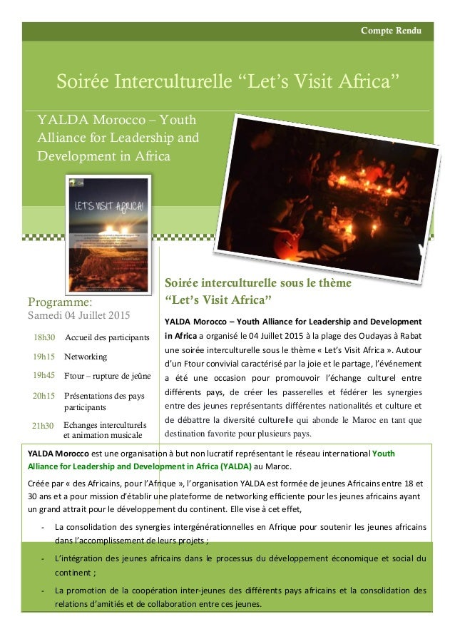 "Compte Rendu Soirée Interculturelle ""Let's Visit Africa"" YALDA Morocco – Youth Alliance for Leadership and Development in ..."