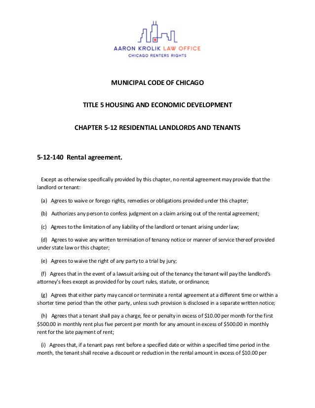 MUNICIPAL CODE OF CHICAGO TITLE 5 HOUSING AND ECONOMIC DEVELOPMENT CHAPTER 5-12 RESIDENTIAL LANDLORDS AND TENANTS 5-12-140...