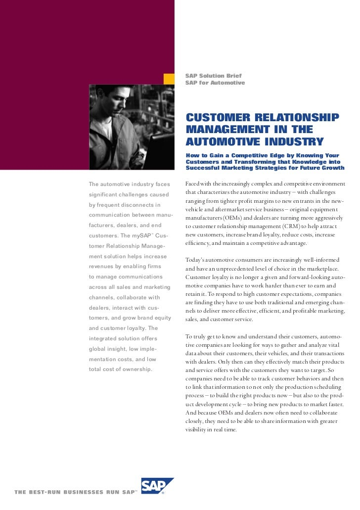 SAP Solution Brief                                 SAP for Automotive                                 CUSTOMER RELATIONSHI...