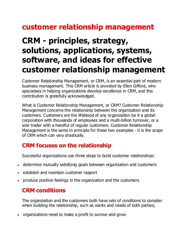 customer relationship managementCRM - principles, strategy,solutions, applications, systems,software, and ideas for effect...