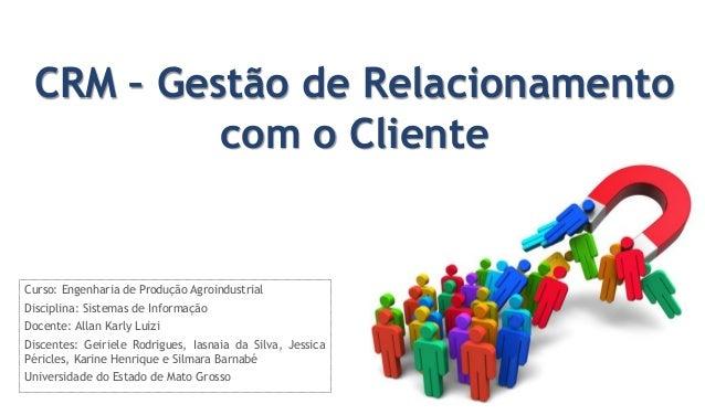 CRM – Gestão de Relacionamento com o Cliente  Curso: Engenharia de Produção Agroindustrial Disciplina: Sistemas de Informa...