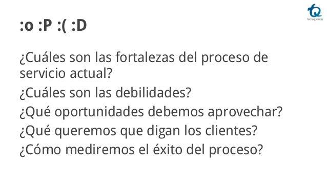 :o :P :( :D ¿Cuáles son las fortalezas del proceso de servicio actual? ¿Cuáles son las debilidades? ¿Qué oportunidades deb...
