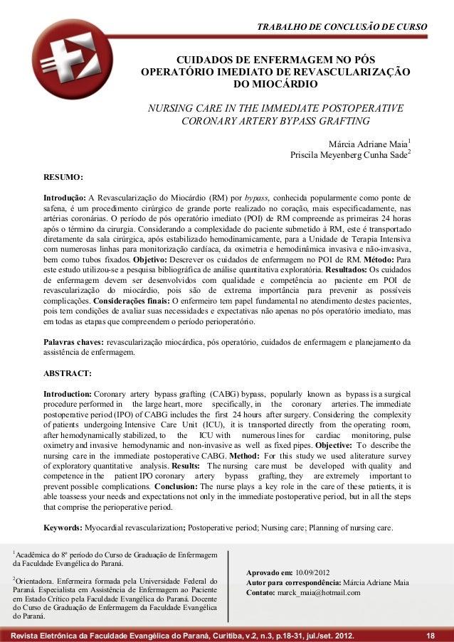 TRABALHO DE CONCLUSÃO DE CURSO  CUIDADOS DE ENFERMAGEM NO PÓS OPERATÓRIO IMEDIATO DE REVASCULARIZAÇÃO DO MIOCÁRDIO NURSING...