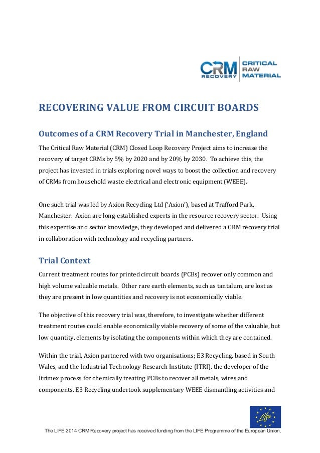 The LIFE 2014 CRM Recovery project has received funding from the LIFE Programme of the European Union.    RECOVERINGVA...