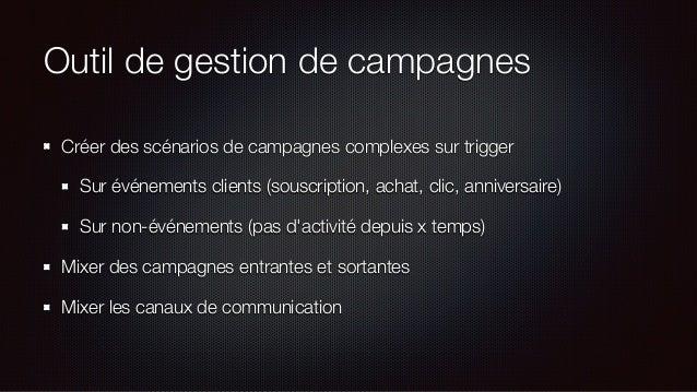 Outil de gestion de campagnes Créer des scénarios de campagnes complexes sur trigger Sur événements clients (souscription,...